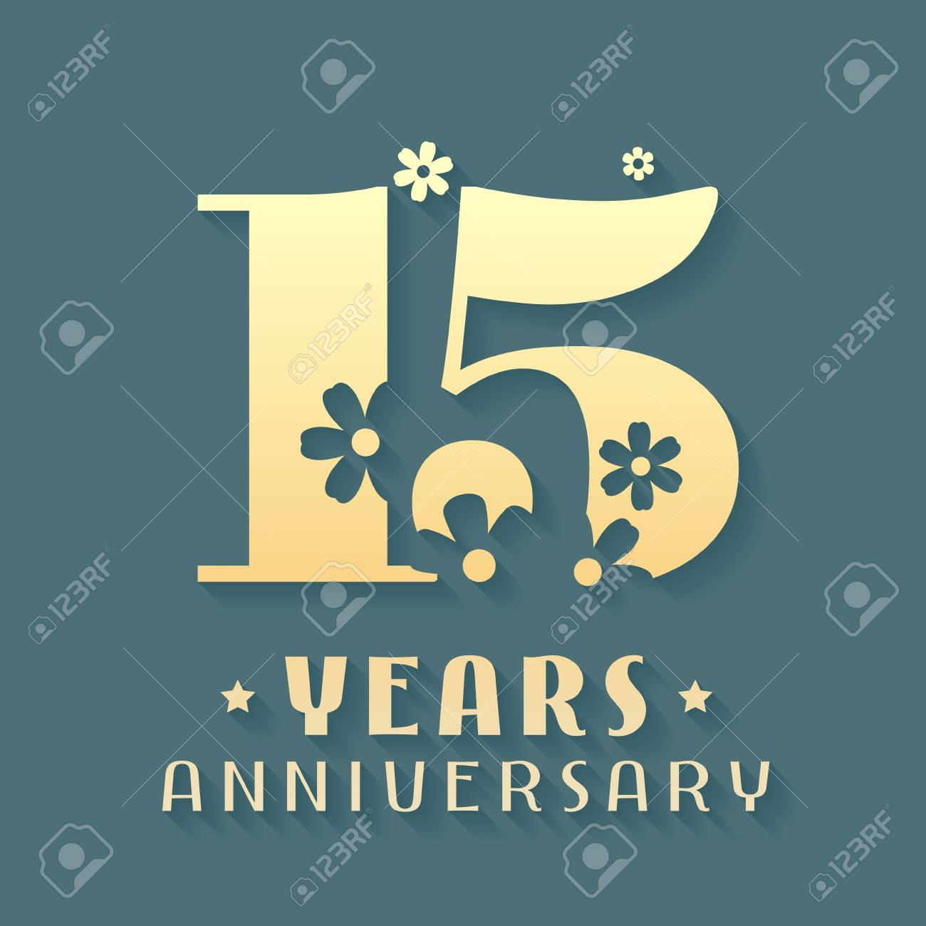 15 Years Anniversary Icon Symbol Graphic Design Element For
