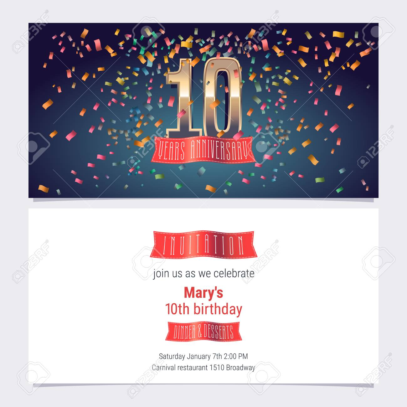 10 years anniversary invitation vector illustration graphic design 10 years anniversary invitation vector illustration graphic design template with golden number for 10th anniversary stopboris Images