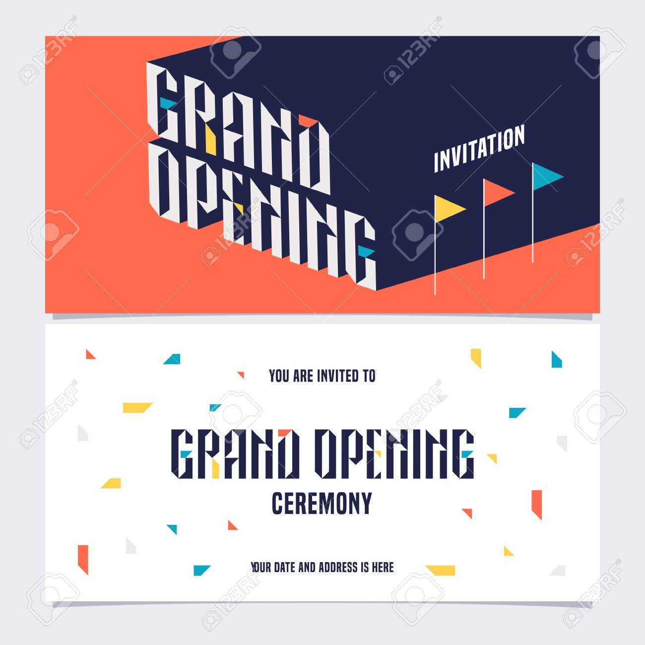 Template Design Element For Invitation Card To Grand Opening