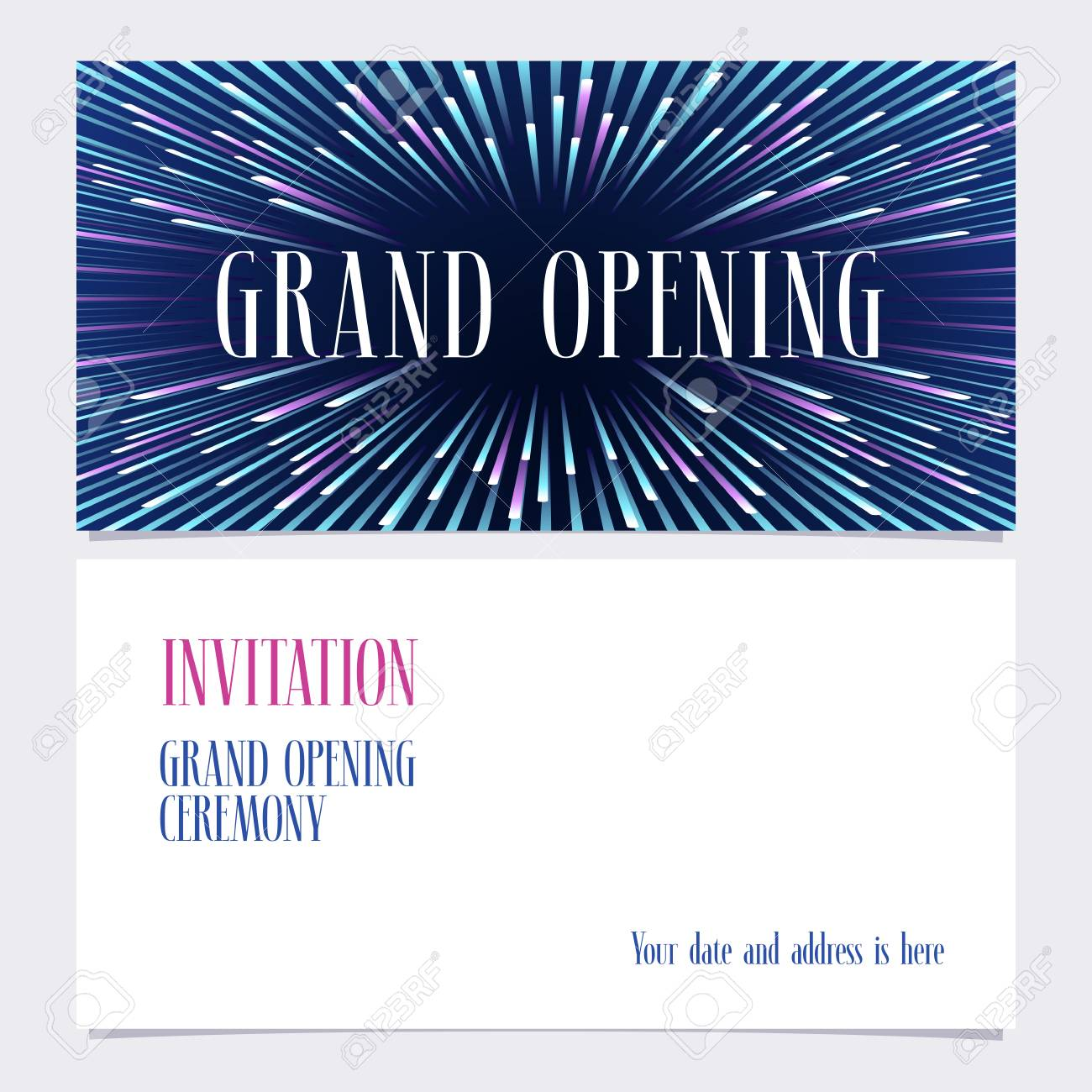 Grand opening vector illustration invitation card for new store banco de imagens grand opening vector illustration invitation card for new store with bright background template banner invite design for opening event stopboris Image collections