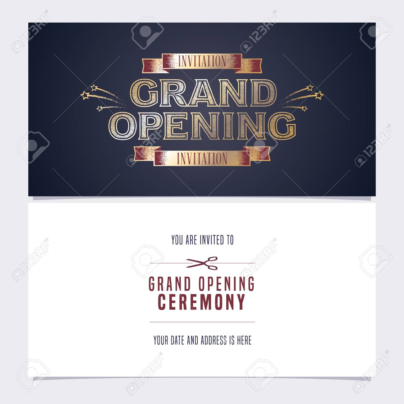 Grand opening vector illustration invitation card template double banco de imagens grand opening vector illustration invitation card template double sided banner invite design for opening event stopboris Gallery