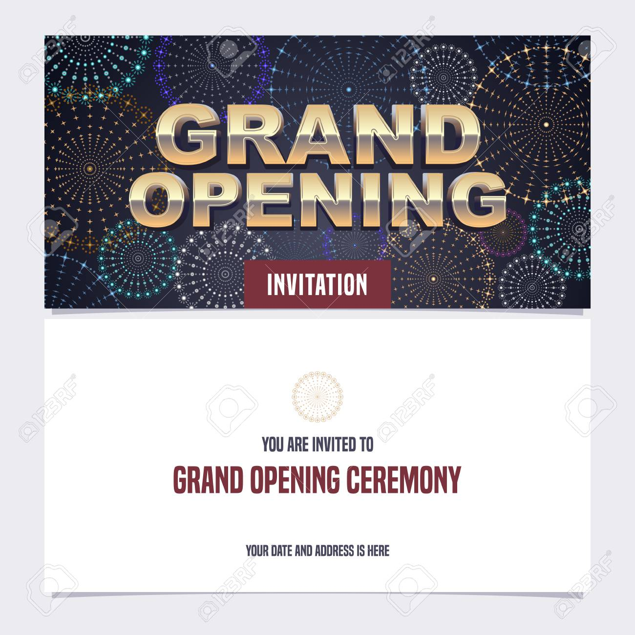 Grand opening vector illustration background invitation card banco de imagens grand opening vector illustration background invitation card invite to red ribbon cutting ceremony with template text stopboris Image collections
