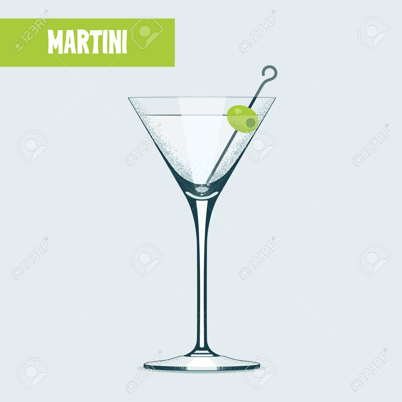Martini Cocktail Glass With Olive Vector Illustration Design