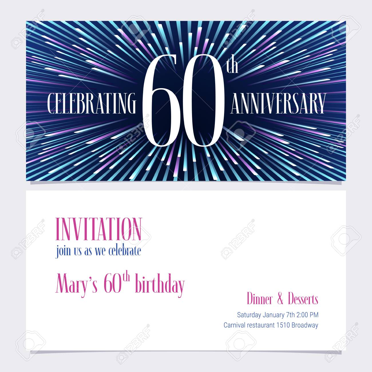 60 Years Anniversary Invitation Vector Illustration Design Element With Bright Abstract Background For 60th Birthday