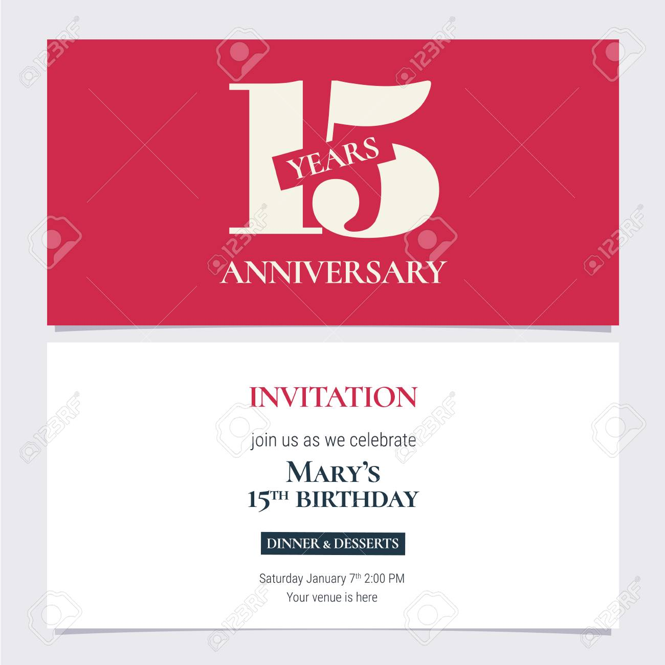15 years anniversary invitation illustration design template