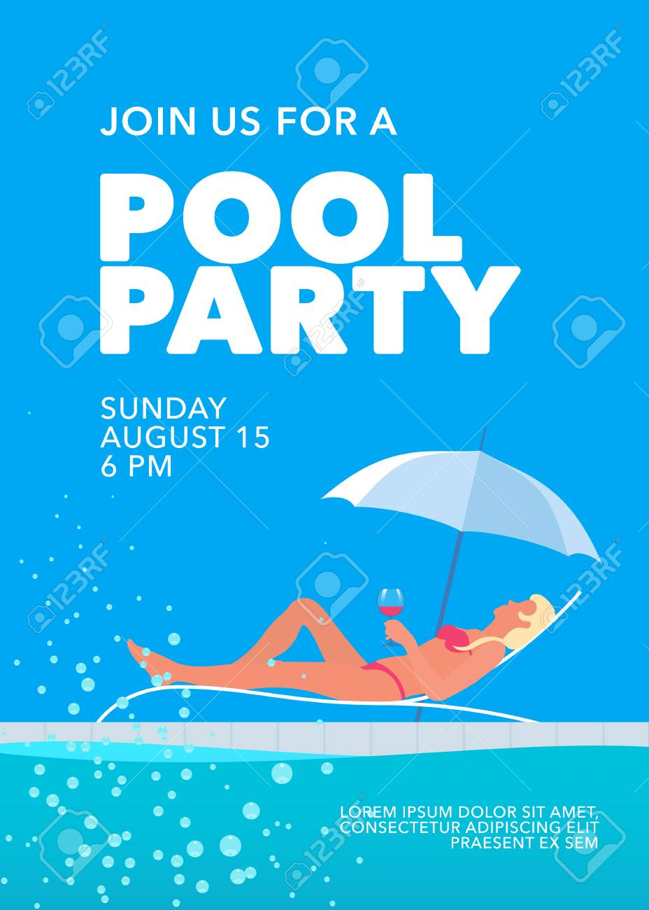 Pool Party Poster With Girl Under Umbrella And Swimming Pool