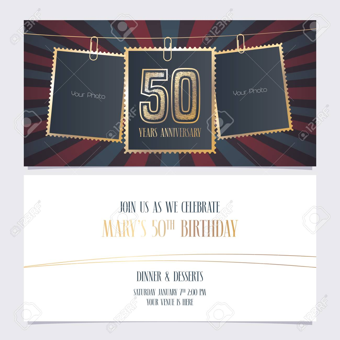 50 Years Anniversary Party Invitation Vector Template Illustration