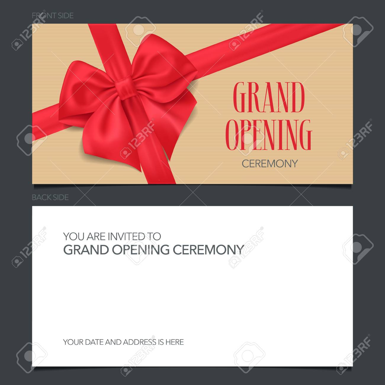 Grand Opening Banner Vector Invitation Card Template Invite