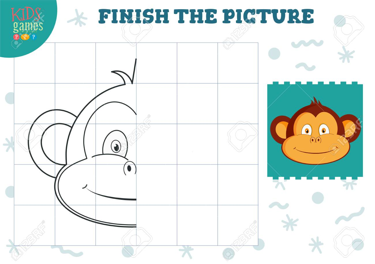 Copy picture vector illustration. Complete and coloring game..