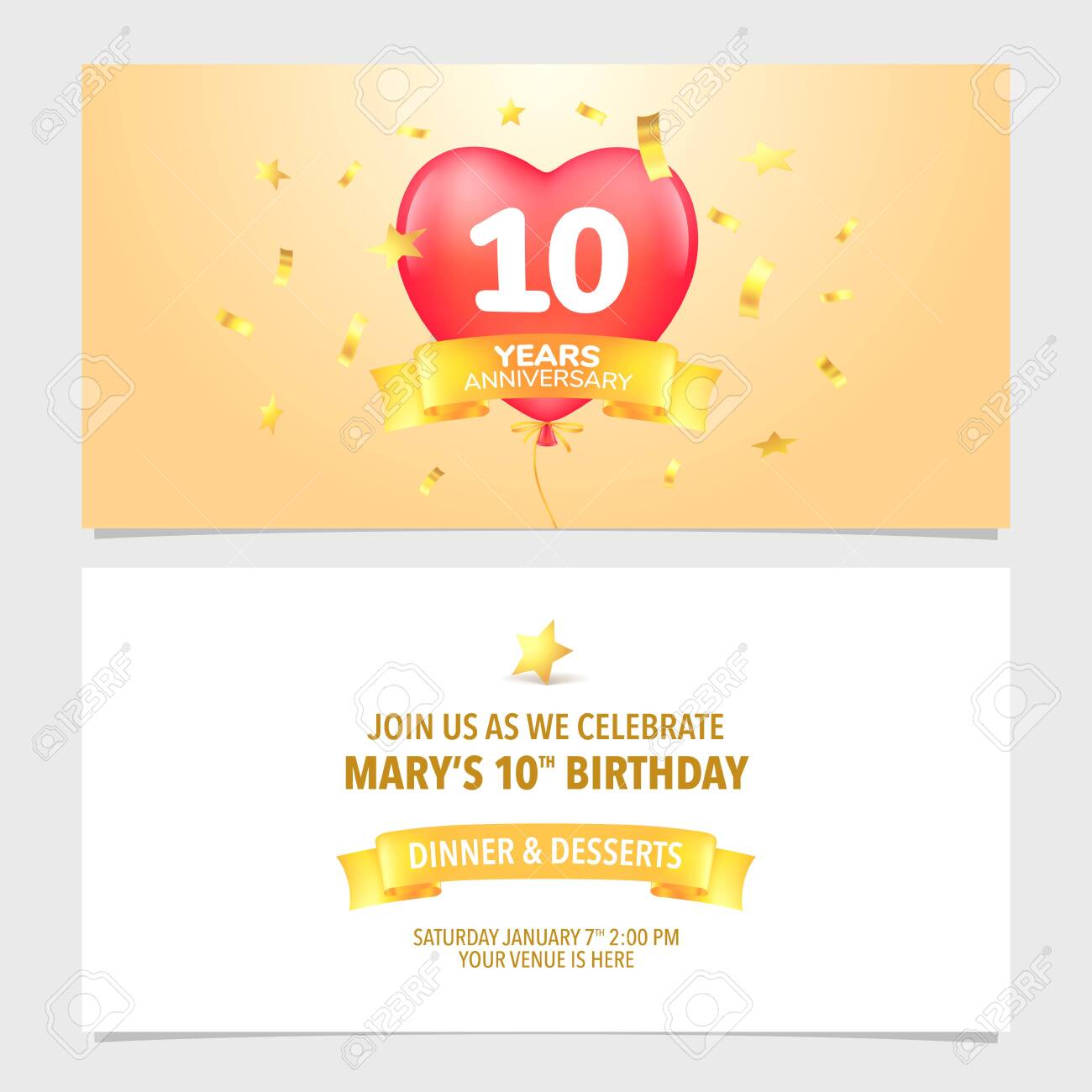 10 Years Anniversary Invitation Card Vector Illustration Design