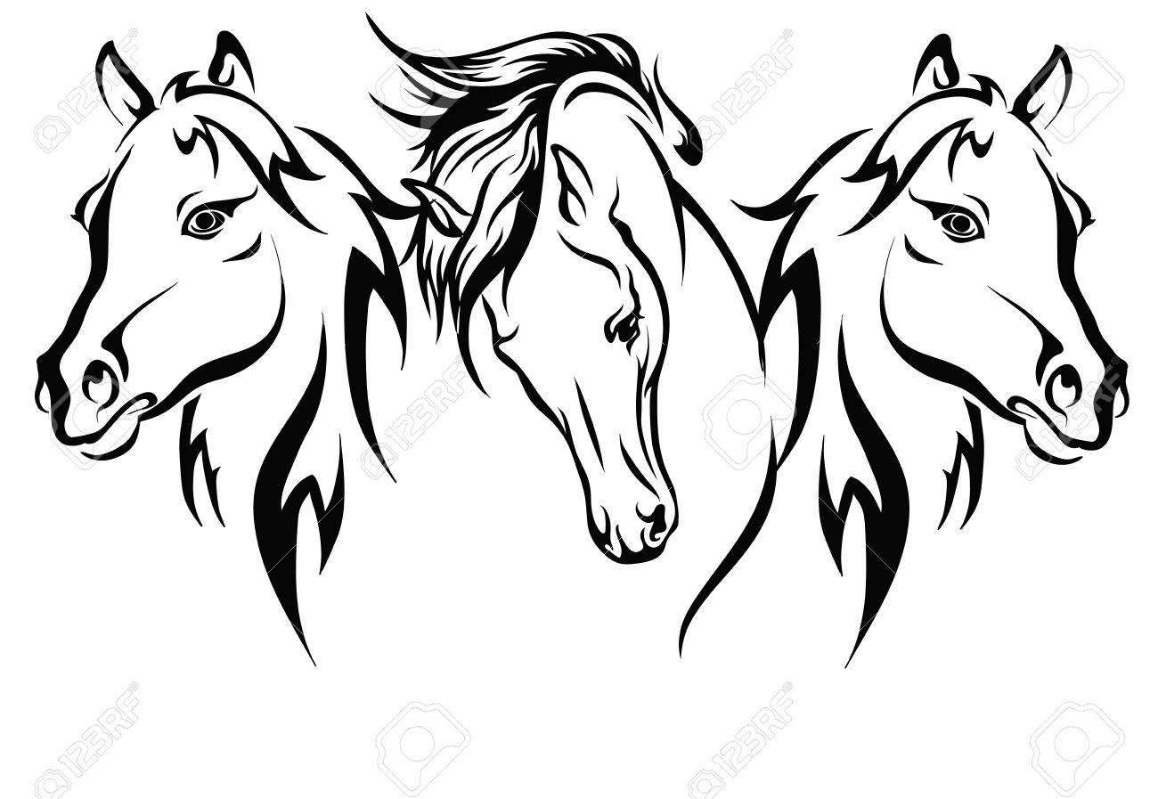 three horses vector format three horses circuit royalty free rh 123rf com horseshoe vector art horse head vector art