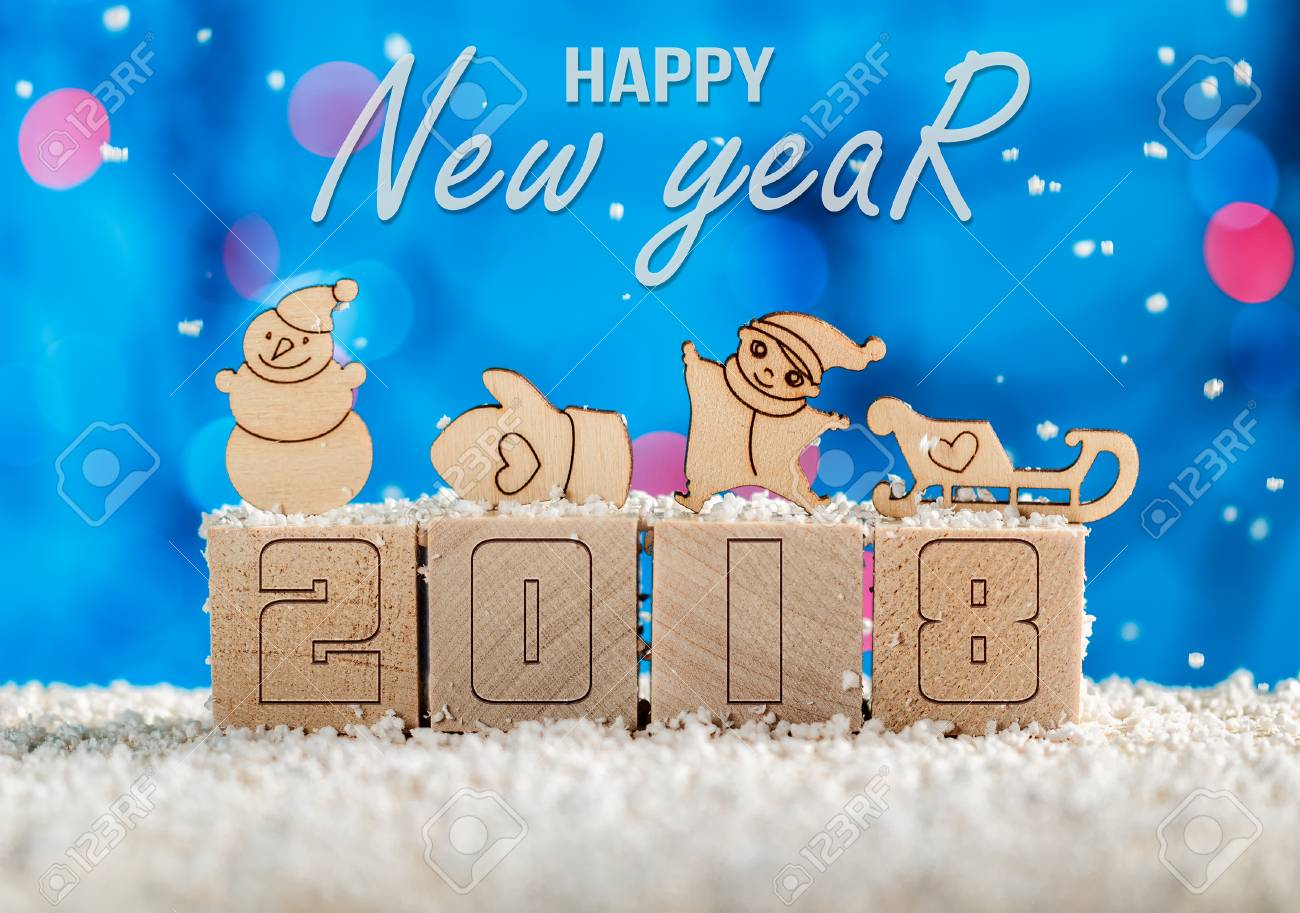 New Years Greetings In 2018 The Year Of The Dog Wooden Cubes