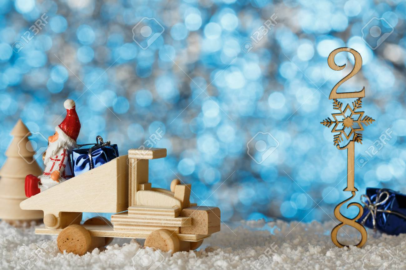 Christmas Card, Place For Your Text. Toy Scene. Winter Landscape ...