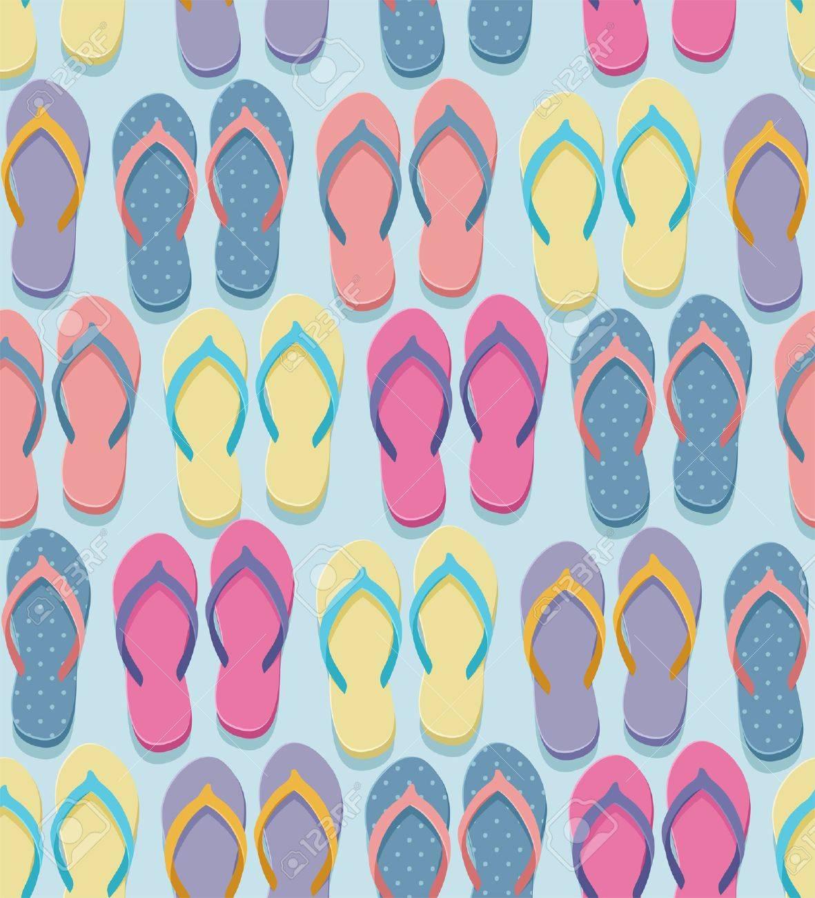 dd77f3bb2912e Seamless pastel colorful flip flops pairs pattern, illustration..