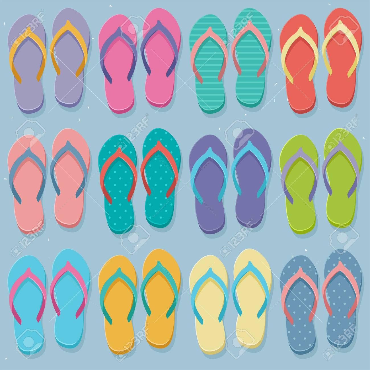 598b81f090cf8 Big Set Of Colorful Pairs Of Flip Flops