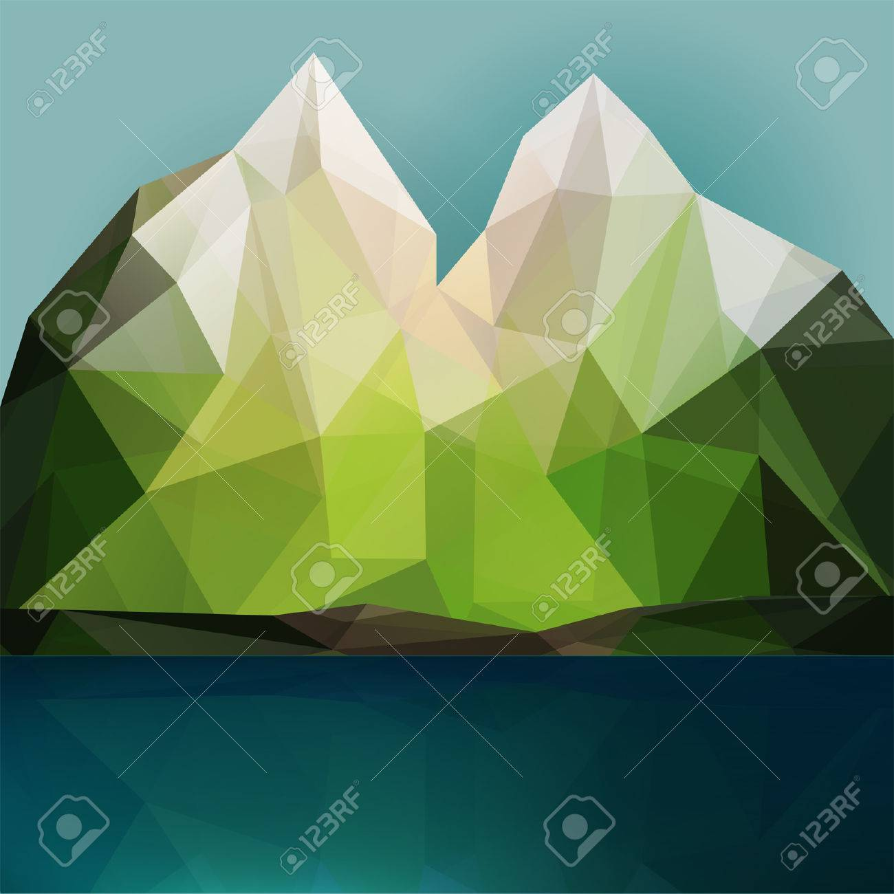 mountain and lake vector triangle polygonal geometric background