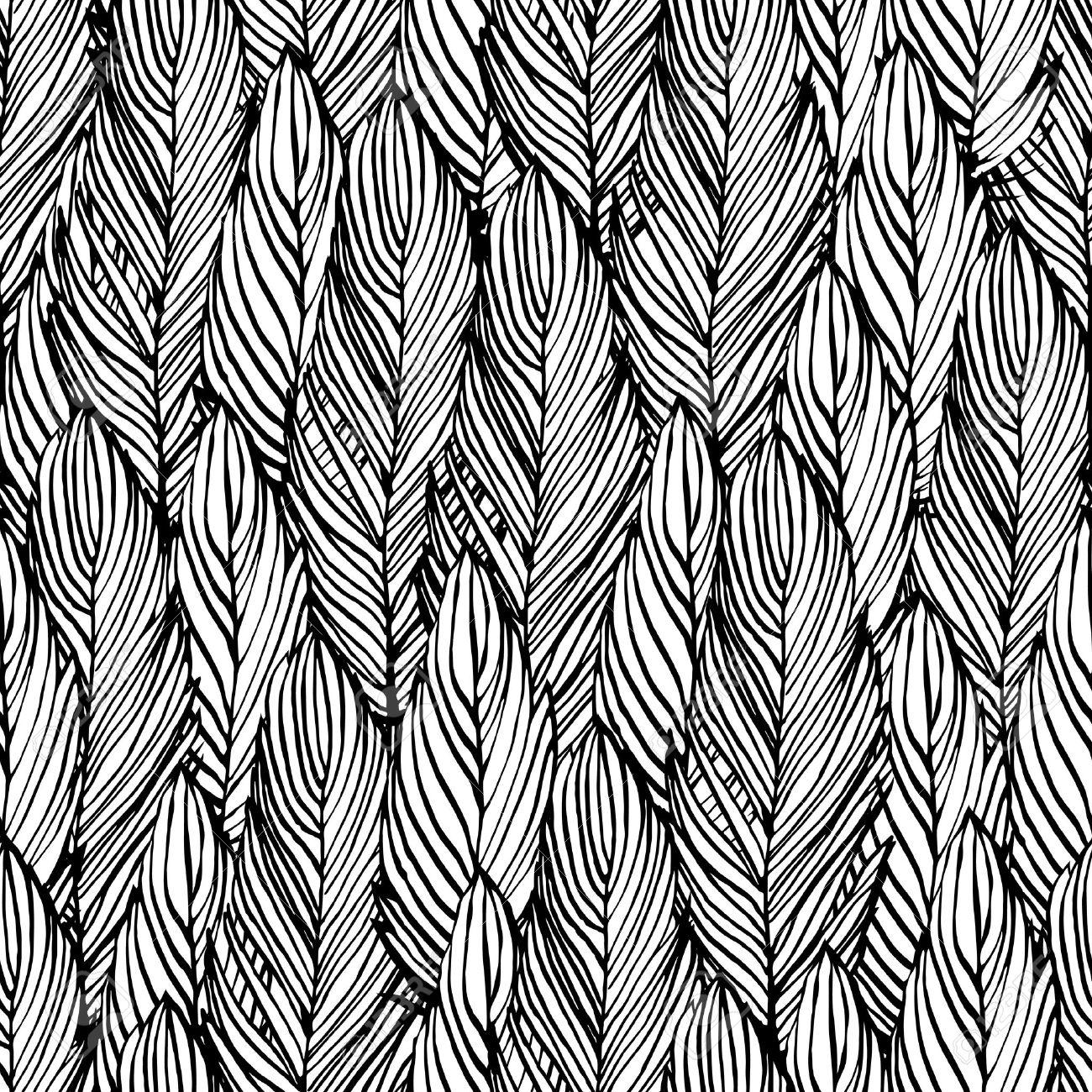 Gliederung Hand Zeichnen Feder Nahtlose Muster Schwarz Weiß Farbige