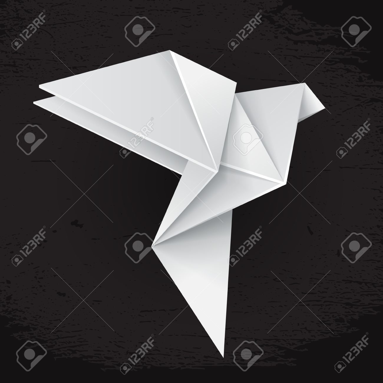 White origami paper dove on black grunge background sign of white origami paper dove on black grunge background sign of peace stock vector 31506187 jeuxipadfo Gallery