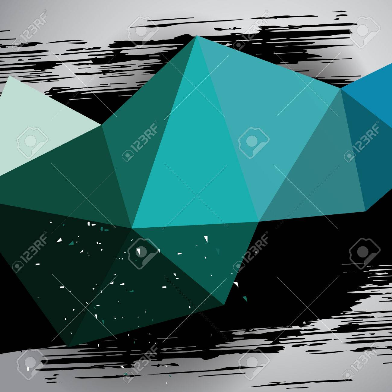 turquoise triangle mesh motion background with grunge black dab,