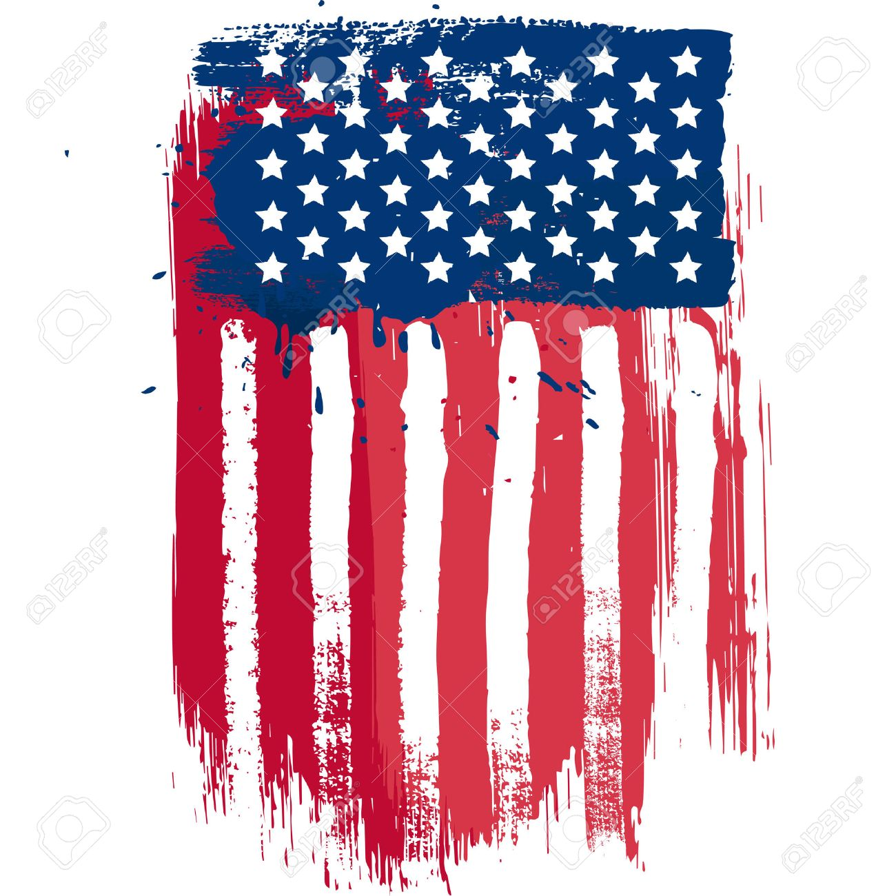 Vertical Composition Vector American Flag In Grunge Style Royalty