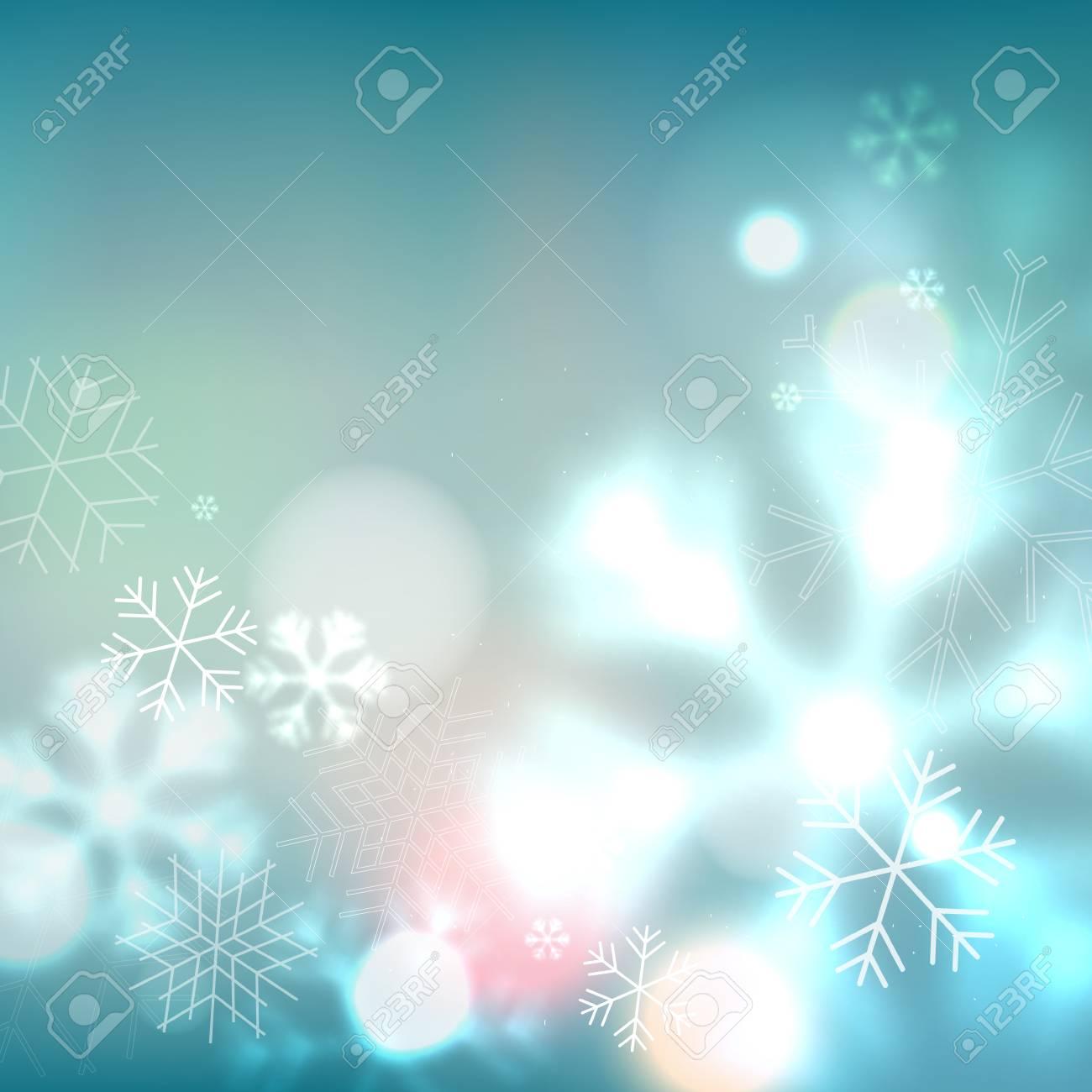 vector blauen schneeflocken hintergrund unscharf defocused template