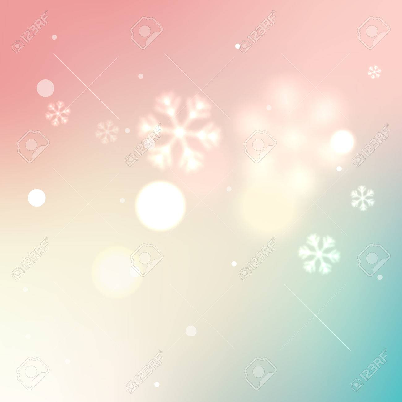 vector soft blurred winter background snowflakes pink vector vector soft blurred winter background snowflakes pink yellow and turquoise color illustration backdrop for card or flyer design