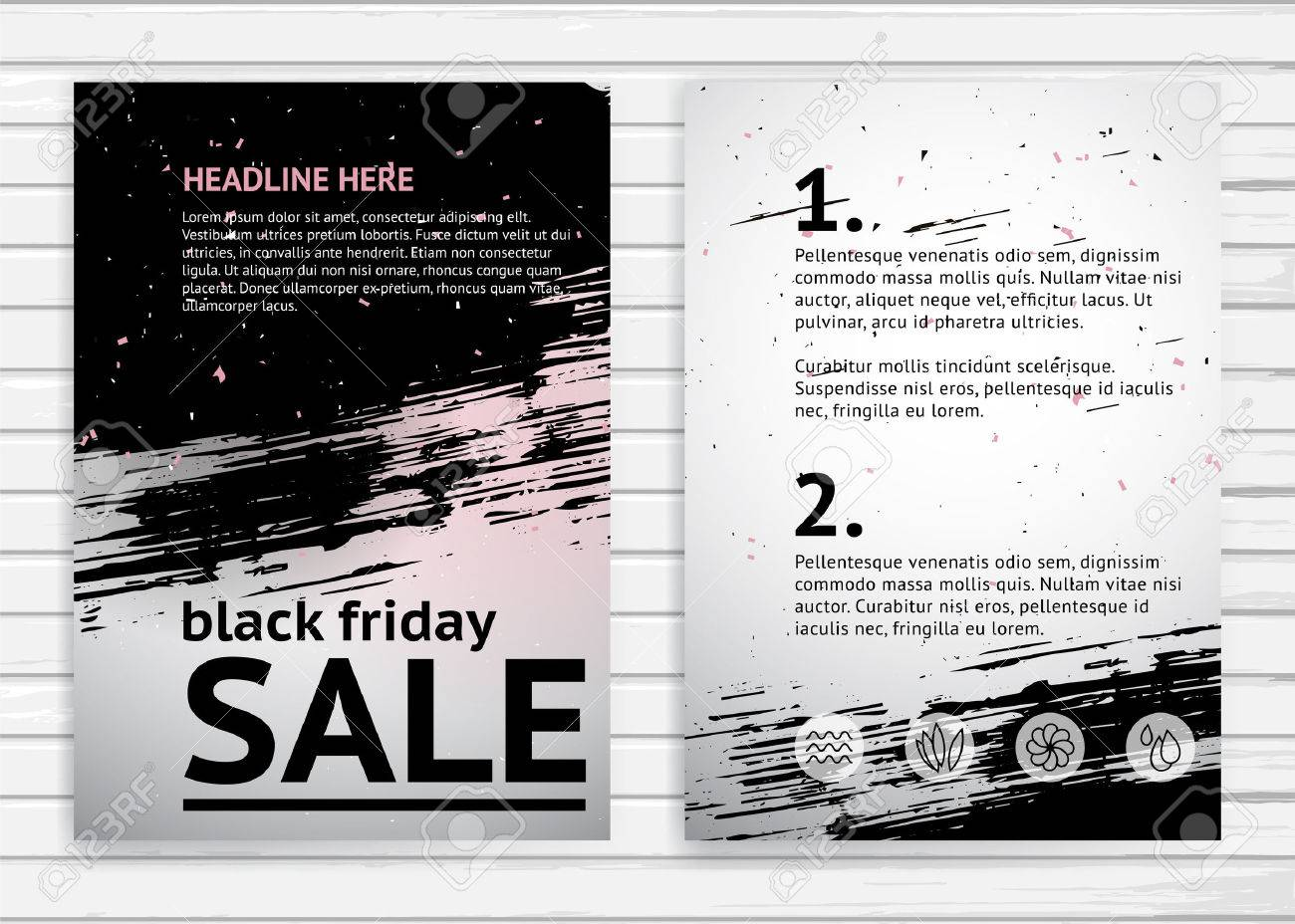 Poster design sample - Black Friday Sale A4 Size Poster Design Template Vector Banner In Grunge Style With Sample