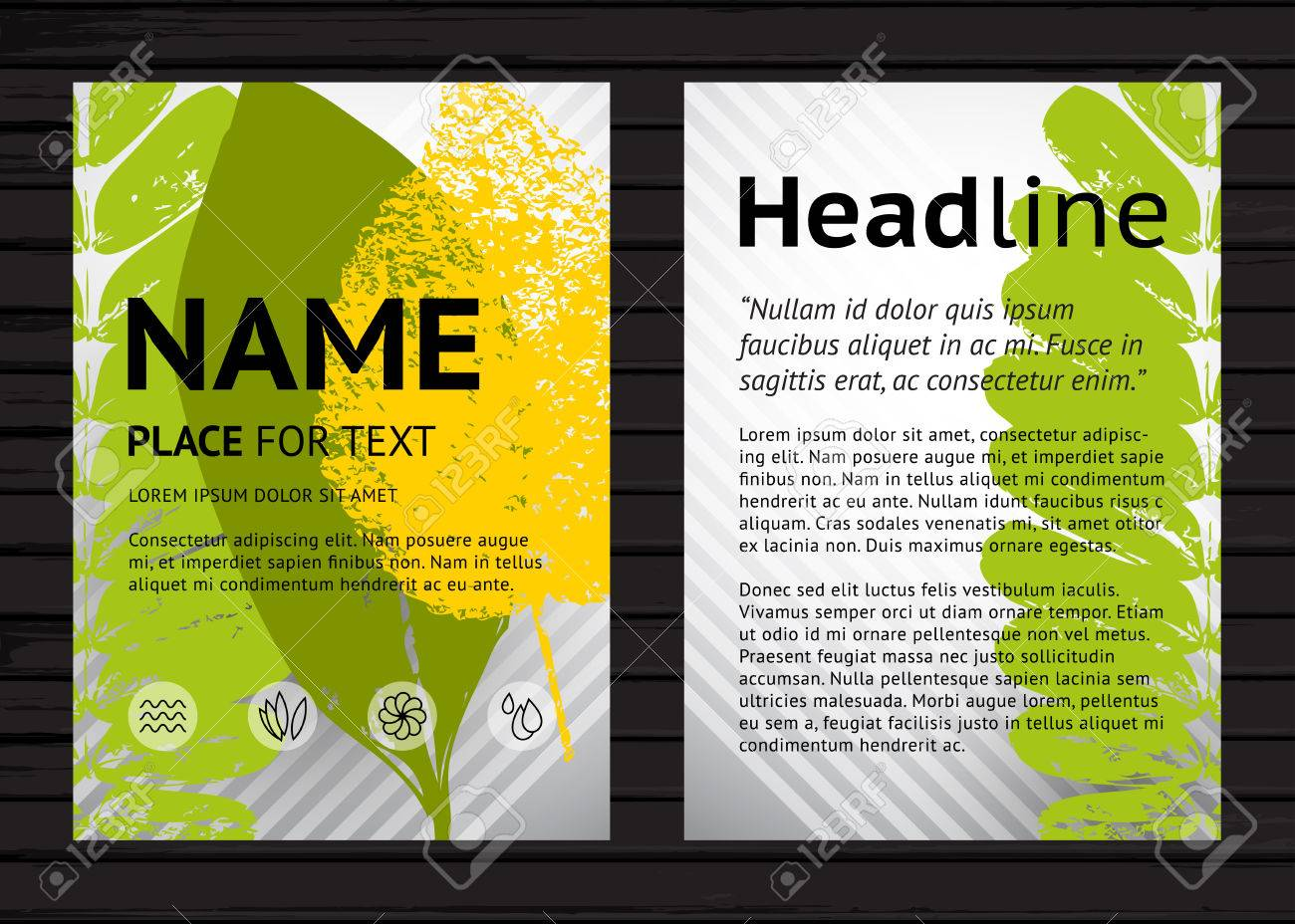 vector vector a4 size nature poster design template two banners with colorful leaves and sample text on black wood background