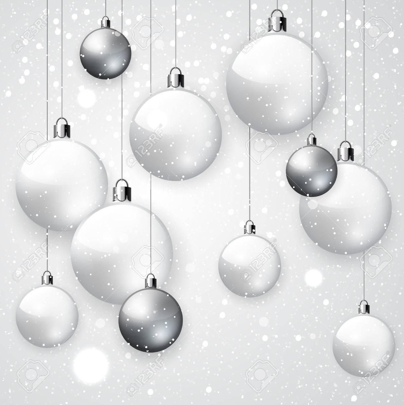 Weiß Schneebedeckten Hintergrund Mit Weiß Und Silber Weihnachten ...