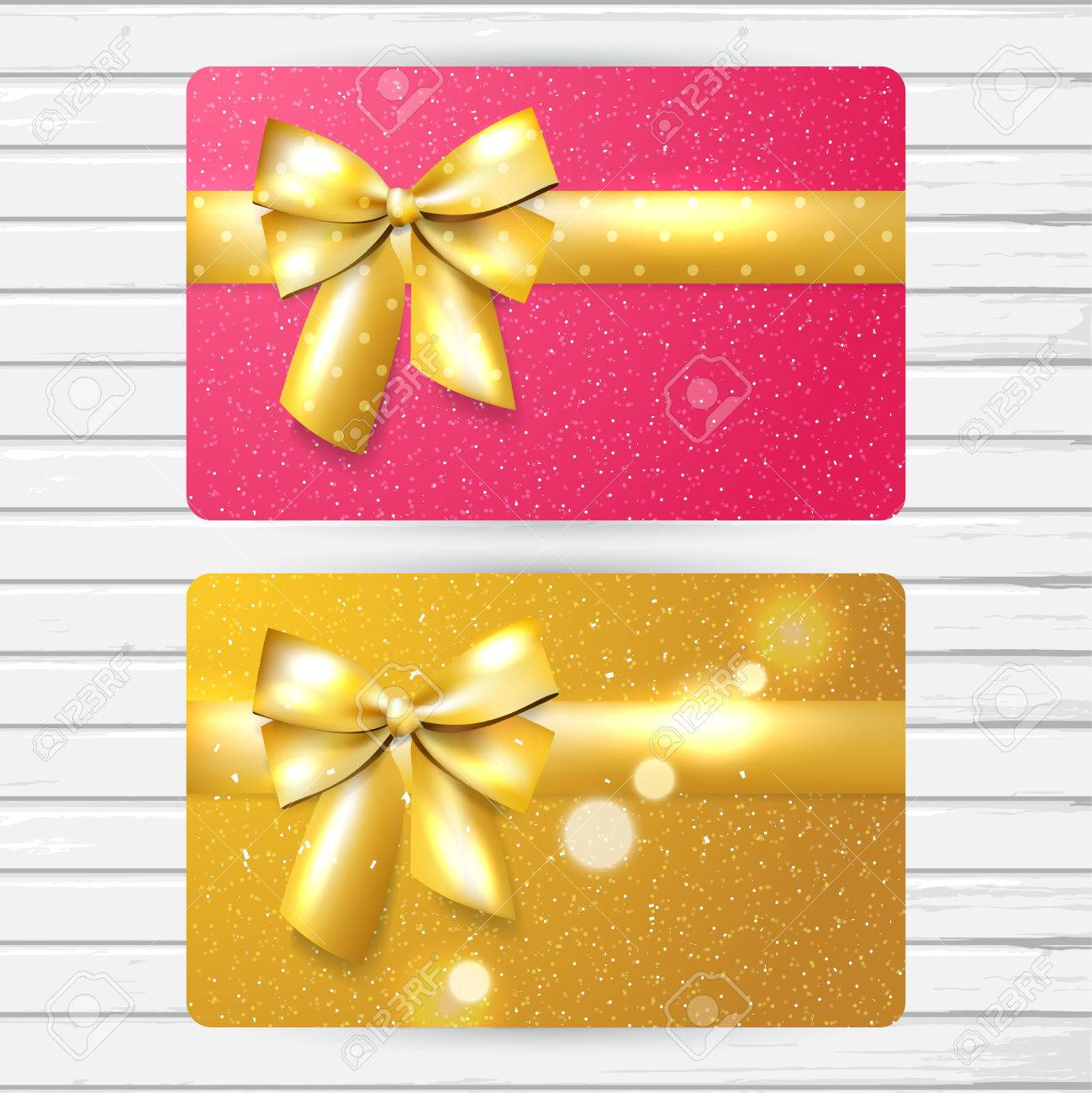 Two vector bright gift card templates girly pink and gold color two vector bright gift card templates girly pink and gold color cards with shiny golden yadclub Gallery