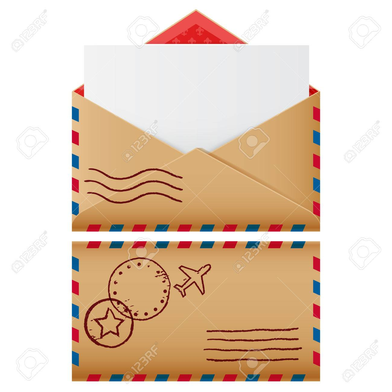two mail icons open envelope with blank letter vector isolated realistic symbol of communication