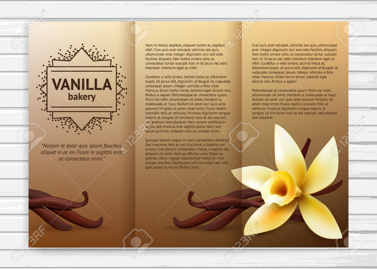 Vector Bakery Flyer With Realistic Flower And Vanilla Pods Cafe - Bakery brochure template