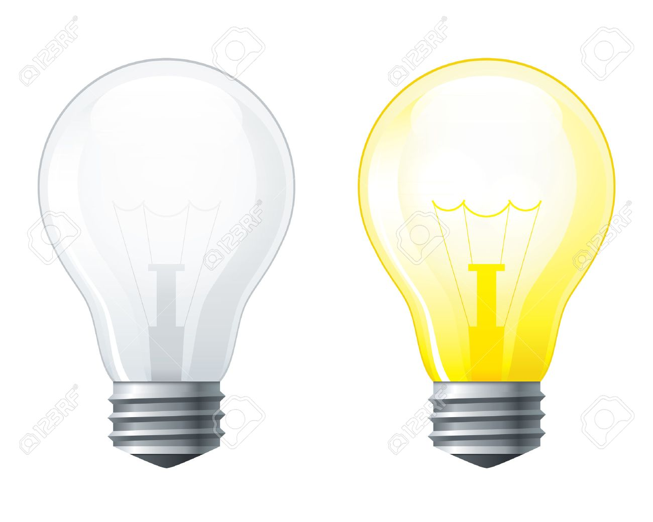 Light Bulbs Set Turned Off And Glowing Yellow Light Bulb Royalty