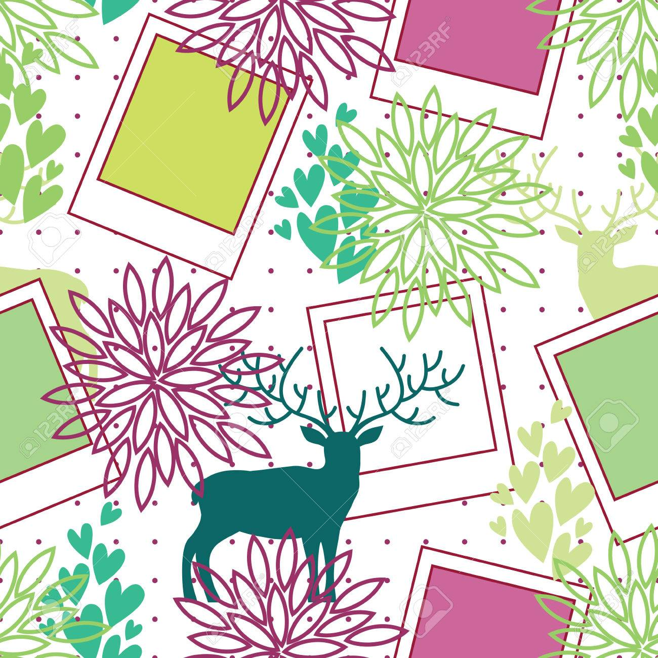 Retro Floral Seamless Pattern With Deer, Photo Frames, Flowers ...