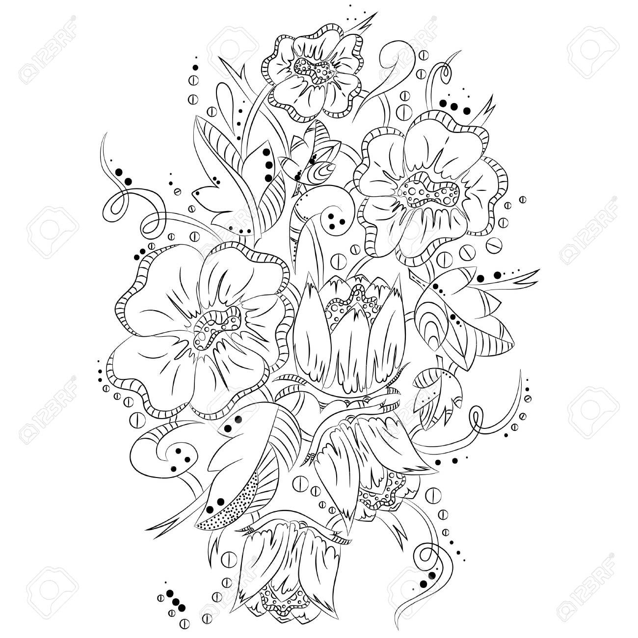 Abstract Floral Pattern Vector Illustration Abstract Black