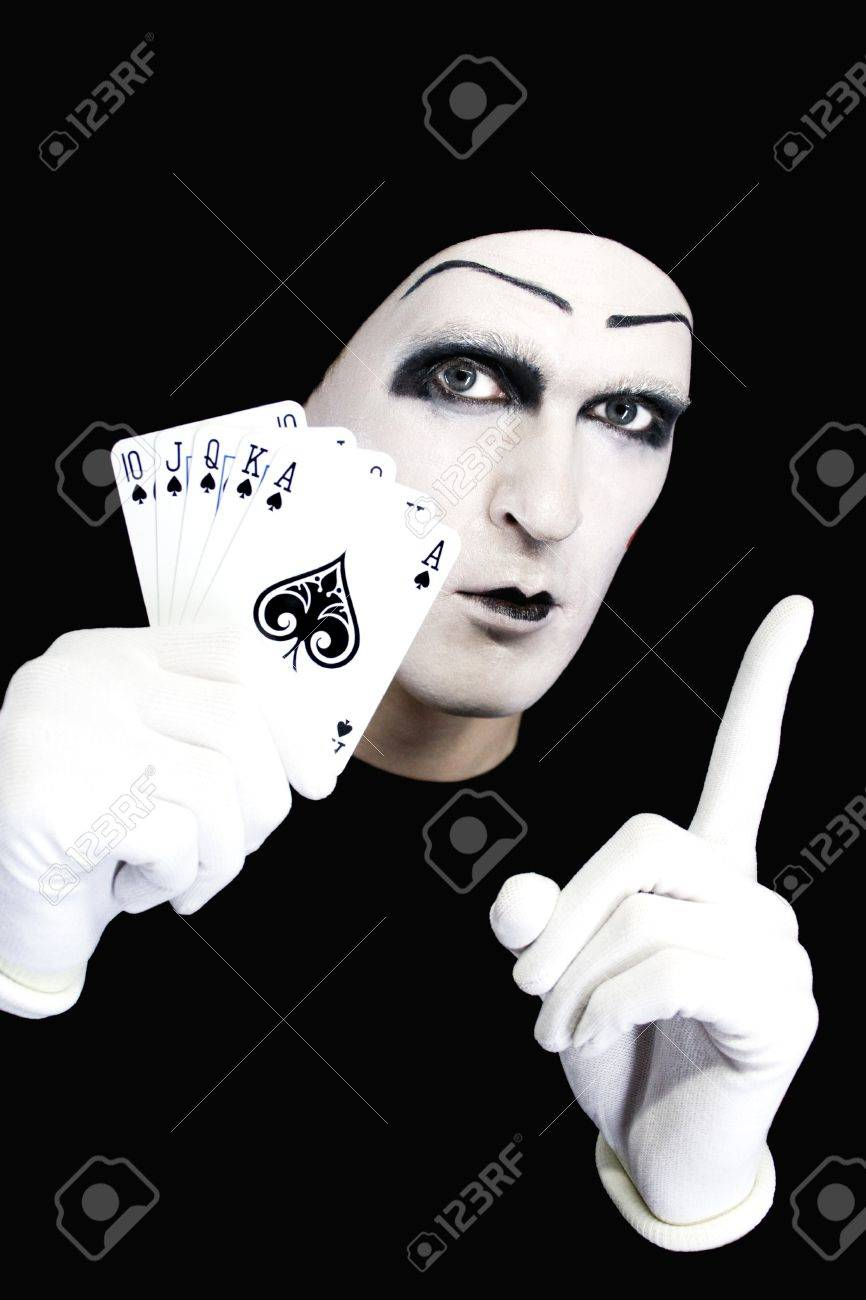 Portrait of the mime with Royal Flush Stock Photo - 4216357