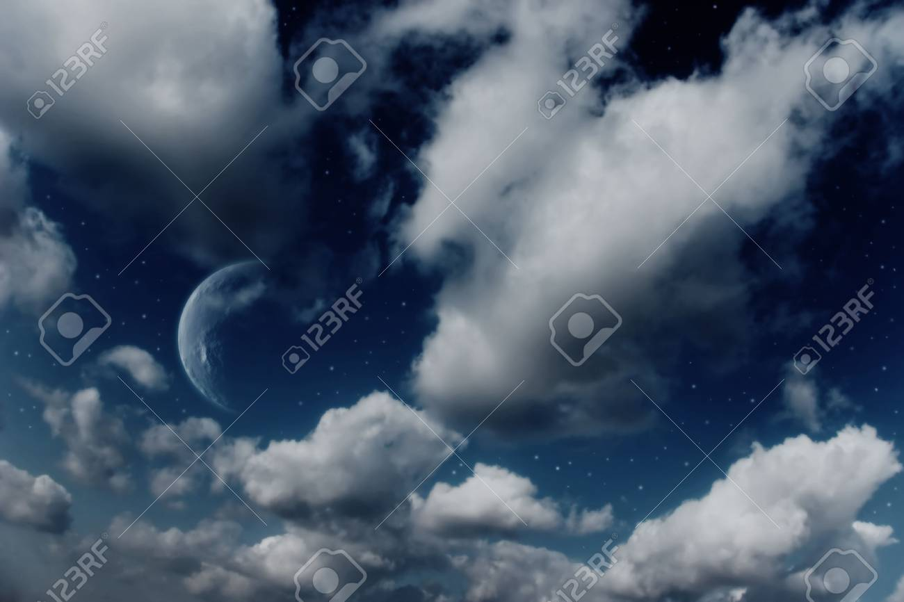 Planets, moon and stars in cloudy sky Stock Photo - 4998740