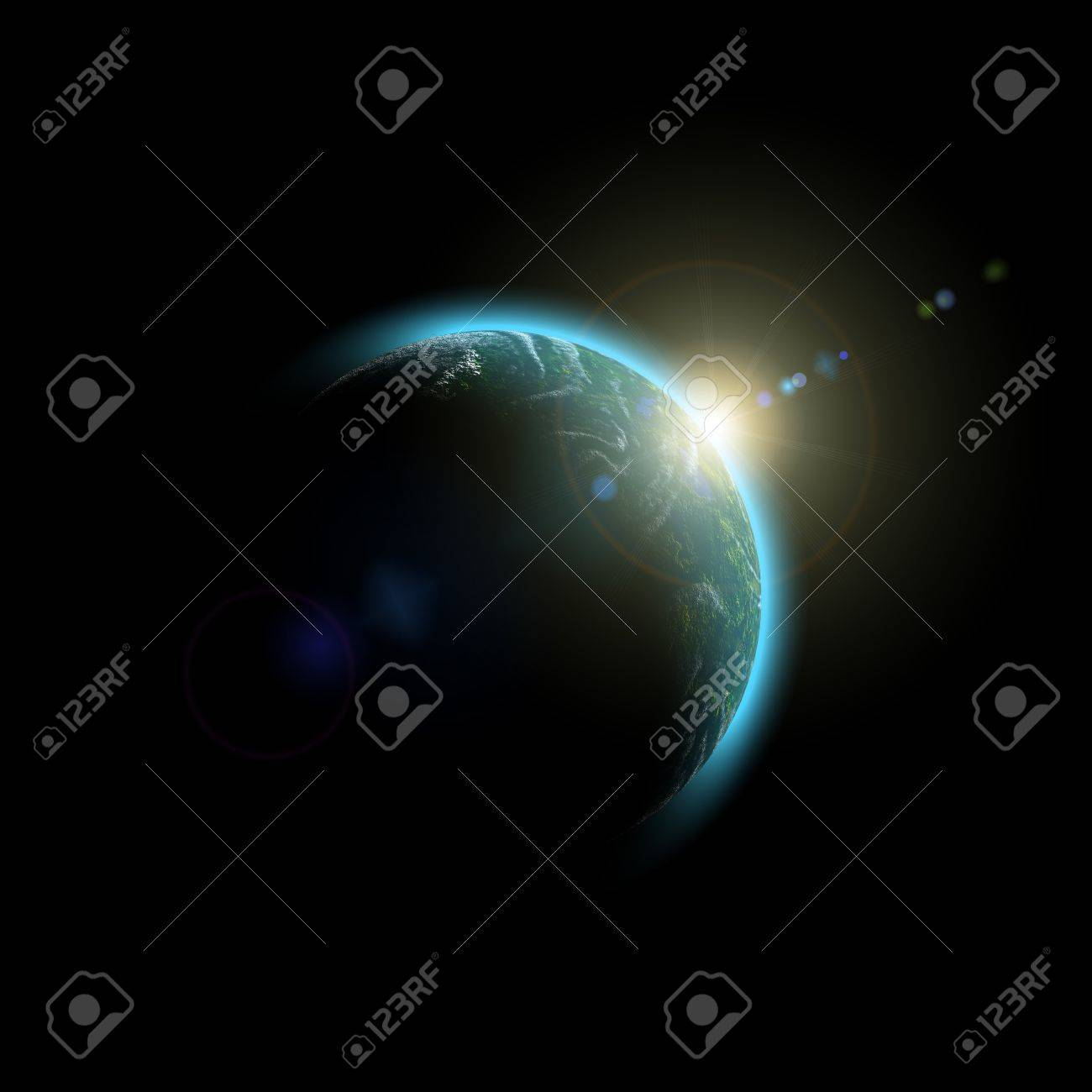 Planet Earth. Abstract Space sunrise Stock Photo - 7215493