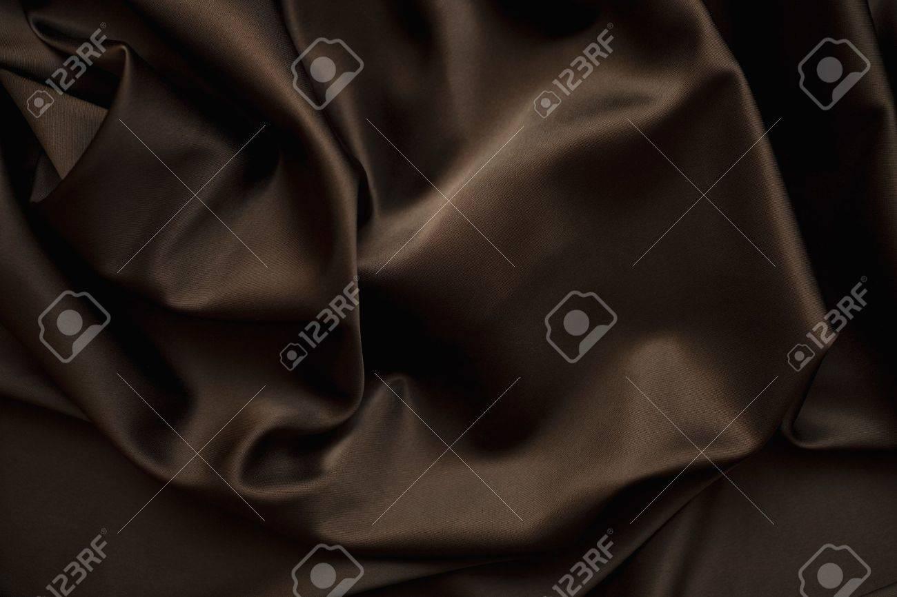 texture of cloth Chocolate brown satin  silk close up Stock Photo - 7269317
