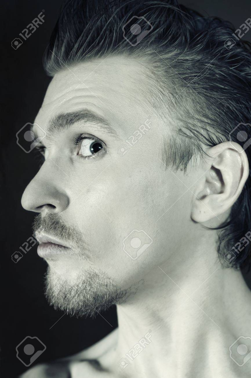 profile of man with funny face closeup Stock Photo - 7607690