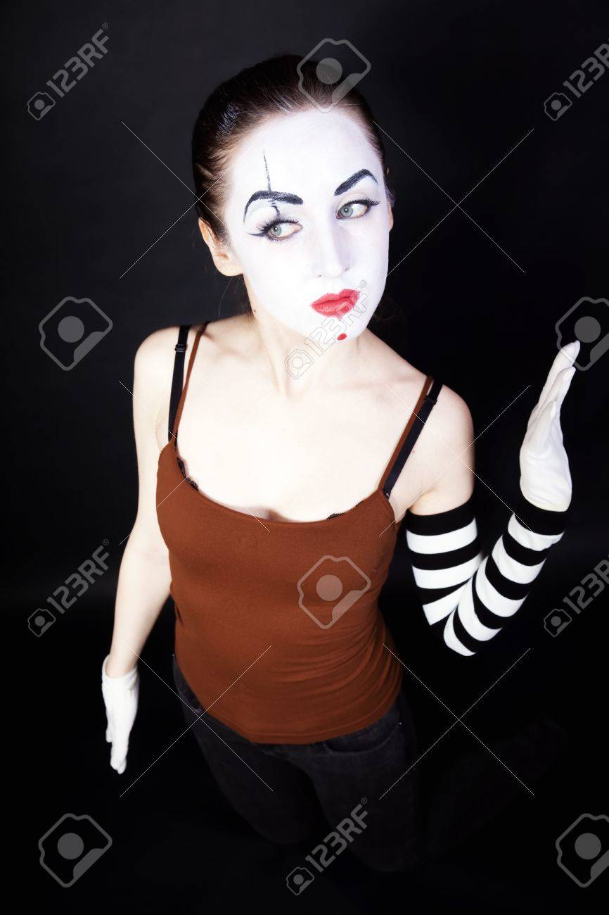 woman mime with theatrical Happy Mime Makeup