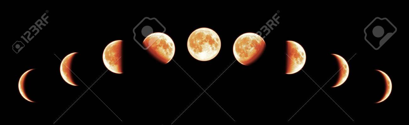 Nine phases of the full growth cycle of the red moon isolated on black background Stock Photo - 8905151