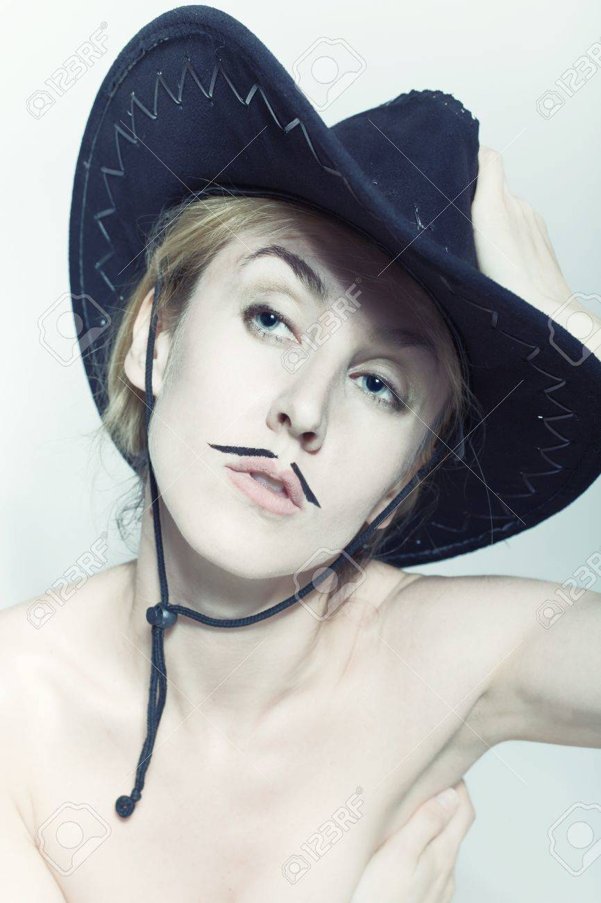 Naked women with mustache wearing cowboy hat on light background Stock  Photo - 10749207 b765a48989e3