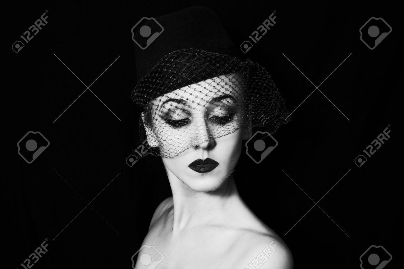 portrait of a beautiful young woman in retro style closeup Stock Photo - 28052219