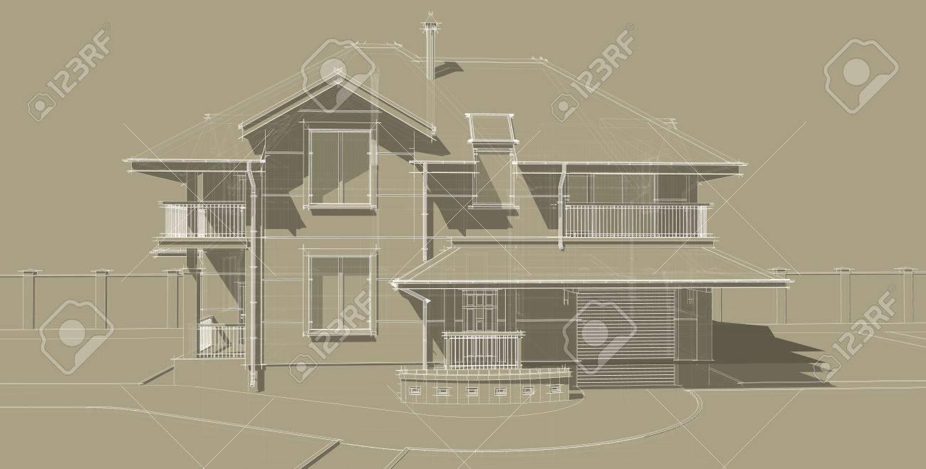 Facciata Casa Di Campagna la facciata è una parte importante del progetto di una casa di campagna.  l'edificio è stato progettato in uno stile classico. tetti spioventi e