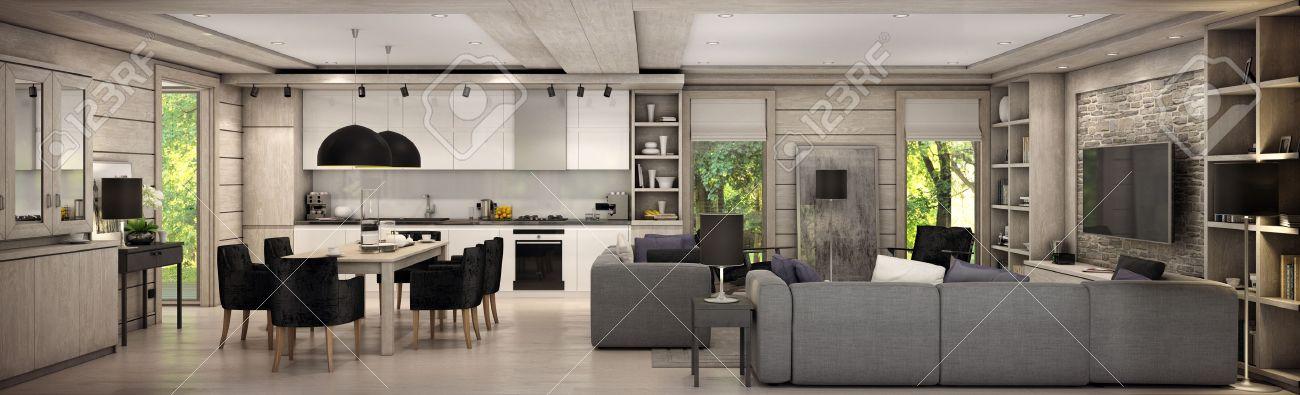 Wohnzimmer Kuche Und Esszimmer Sind In Einem Gebiet Eines