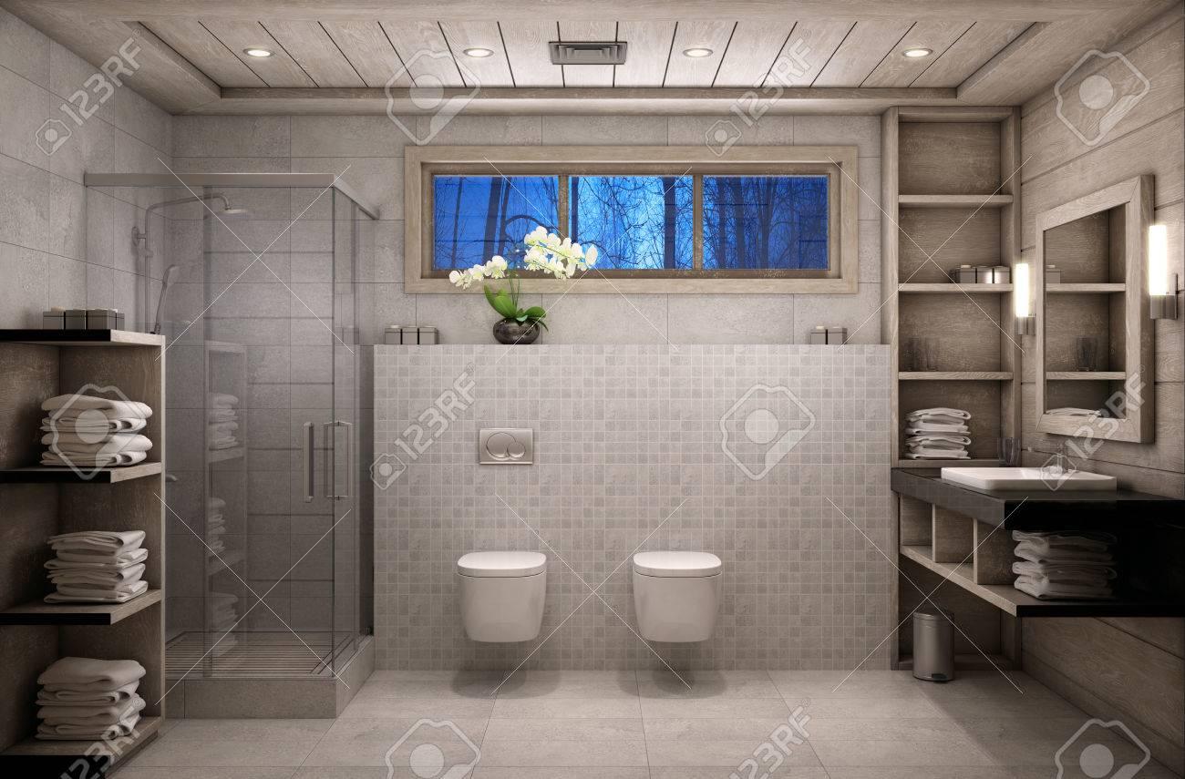 L\'intérieur de la salle de bains est dans le style chalet avec des  matériaux naturels tels que le bois et la pierre.