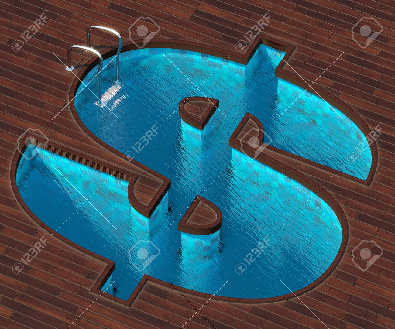 The Picture Combines The Image Of Dollar Icon And A Cool Pool