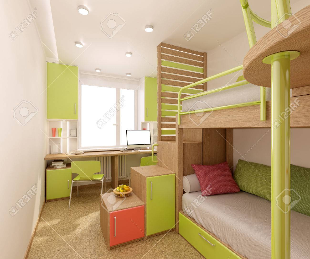 Kinderzimmer In Hellen Farben Mit Natürlichen Materialien Gemacht.  Etagenbett Für Zwei Kinder. Standard