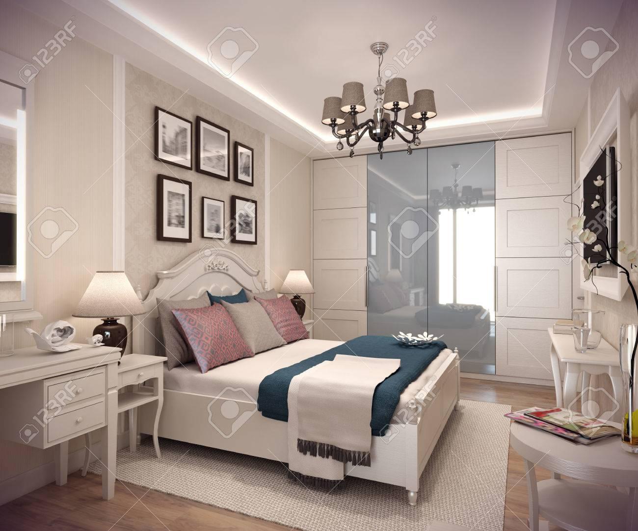 3D Acogedor Dormitorio En Estilo Clsico Cama Enorme Con Numerosas